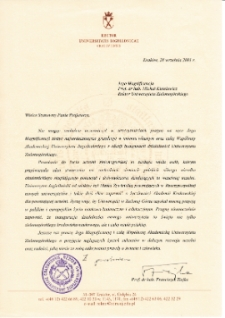 [List gratulacyjny Rektora Uniwersytetu Jagiellońskiego z okazji pierwszej inauguracji roku akademickiego na Uniwersytecie Zielonogórskim]
