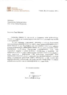 [List gratulacyjny Rektora Uniwersytetu im. Adama Mickiewicza w Poznaniu z okazji pierwszej inauguracji roku akademickiego na Uniwersytecie Zielonogórskim]