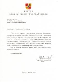 [List gratulacyjny Rektora Uniwersytetu Wrocławskiego z okazji pierwszej inauguracji roku akademickiego na Uniwersytecie Zielonogórskim]