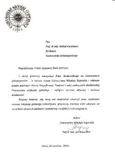 [List gratulacyjny Rektora Uniwersytetu Mikołaja Kopernika w Toruniu z okazji pierwszej inauguracji roku akademickiego na Uniwersytecie Zielonogórskim]