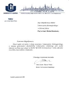 [List gratulacyjny Rektora Uniwersytetu Gdańskiego z okazji pierwszej inauguracji roku akademickiego na Uniwersytecie Zielonogórskim]