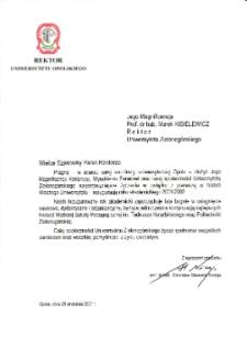[List gratulacyjny Rektora Uniwersytetu Opolskiego z okazji pierwszej inauguracji roku akademickiego na Uniwersytecie Zielonogórskim]