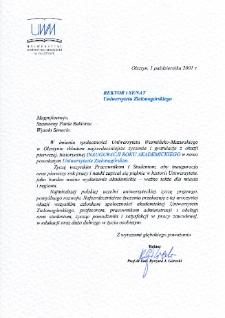 [List gratulacyjny Rektora Uniwersytetu Warmińsko-Mazurskiego z okazji pierwszej inauguracji roku akademickiego na Uniwersytecie Zielonogórskim]