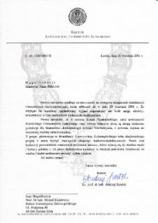 [List gratulacyjny Rektora Katolickiego Uniwersytetu Lubelskiego z okazji pierwszej inauguracji roku akademickiego na Uniwersytecie Zielonogórskim]