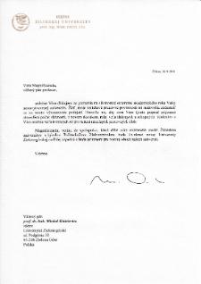 [List gratulacyjny Rektora Žilinskej Univerzity z okazji pierwszej inauguracji roku akademickiego na Uniwersytecie Zielonogórskim]