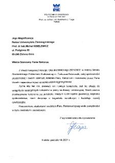[List gratulacyjny Rektora Politechniki Krakowskiej z okazji pierwszej inauguracji roku akademickiego na Uniwersytecie Zielonogórskim]