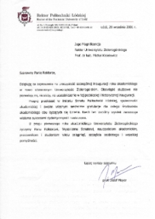 [List gratulacyjny Rektora Politechniki Łódzkiej z okazji pierwszej inauguracji roku akademickiego na Uniwersytecie Zielonogórskim]