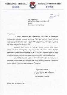 [List gratulacyjny Rektora Politechniki Lubelskiej z okazji pierwszej inauguracji roku akademickiego na Uniwersytecie Zielonogórskim]