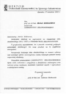 [List gratulacyjny Rektora Politechniki Rzeszowskiej z okazji pierwszej inauguracji roku akademickiego na Uniwersytecie Zielonogórskim]