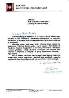 [List gratulacyjny Rektora Politechniki Świętokrzyskiej z okazji pierwszej inauguracji roku akademickiego na Uniwersytecie Zielonogórskim]