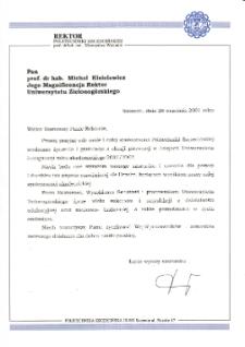 [List gratulacyjny Rektora Politechniki Szczecińskiej z okazji pierwszej inauguracji roku akademickiego na Uniwersytecie Zielonogórskim]