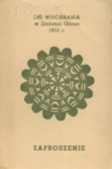 Dni Winobrania w Zielonej Górze 1958 r.: zaproszenie