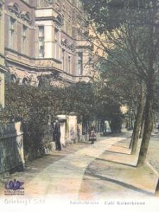 Zielona Góra / Grünberg; al. Niepodległości, Kawiarnia Pod Carską Koroną; Banhofstraße, Cafe Kaiserkrone, rok 1909