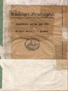 Grünberger Hauskalender: Heimatkalender auf das Jahr 1924 für die Kreise Grünberg und Freystadt