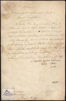 Pismo adresowane do Anny Trzcińskiej wdowy po pułkowniku odmawiające przyznania jej emerytury po mężu z podpisem Radcy Stanu Stanisława Staszica