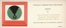 [Zaproszenie na Uroczystość wręczenia Nagród Kulturalnych Miasta Zielonej Góry 23 IX 1971 r.]
