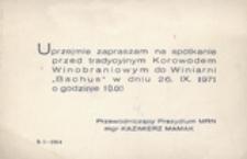 [Zaproszenie na spotkanie przed tradycyjnym Korowodem Winibraniowym 26 IX 1971 r.]