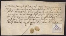 Pokwitowanie wpłaconego czynszu za rok 1567 przez Stanisława Karwickiego