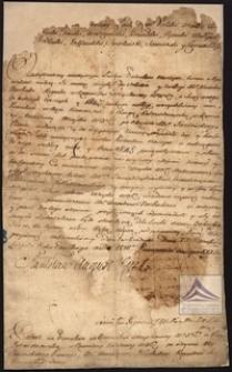 Dokument nominacyjny, patent na pisarstwo w Komisji Wojskowej z rangą rotmistrzowską w Kawalerii Narodowej Wojska dla Aleksandra Narbuta, nadany przez króla Stanisława Augusta z jego podpisem oraz pieczęcią