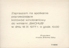 """[Zaproszenie do Winiarni """"Bachus"""" 18 IX 1977 r.]"""