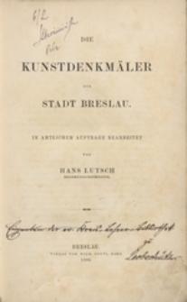 [Bd. 1]: Die Kunstdenkmäler der Stadt Breslau