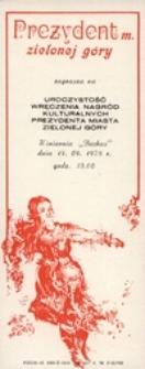 Dni Zielonej Góry 1978: [zaproszenie na uroczystość wręczenia nagród kulturalnych Prezydenta miasta Zielonej Góry]