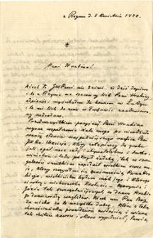 [List ks. Józefa Łukaszewicza z Rzymu do hrabiny Mielżyńskiej]