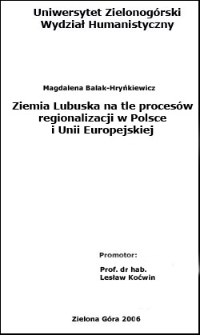 Ziemia Lubuska na tle procesów regionalizacji w Polsce i Unii Europejskiej