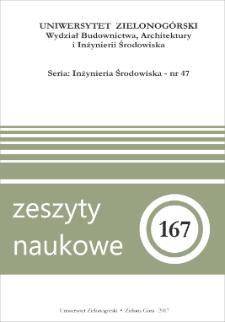 Zeszyty Naukowe Uniwersytetu Zielonogórskiego: Inżynieria Środowiska, Tom 47 - spis treści